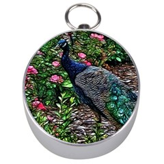 Peacock with roses Silver Compass