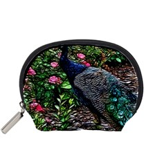 Peacock with roses Accessory Pouch (Small)