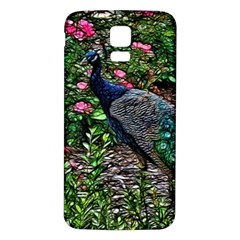 Peacock with roses Samsung Galaxy S5 Back Case (White)