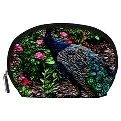 Peacock with roses Accessory Pouch (Large)