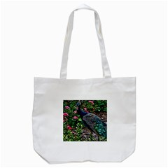 Peacock with roses Tote Bag (White)