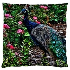 Peacock with roses Standard Flano Cushion Case (One Side)