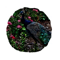 Peacock With Roses 15  Premium Flano Round Cushion