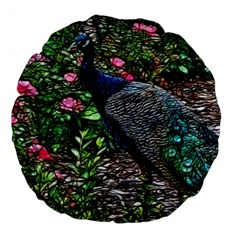 Peacock with roses 18  Premium Flano Round Cushion