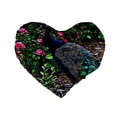 Peacock with roses 16  Premium Flano Heart Shape Cushion