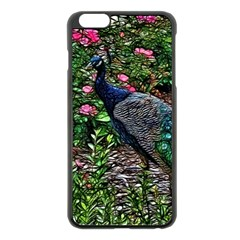 Peacock with roses Apple iPhone 6 Plus Black Enamel Case