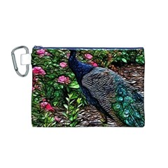 Peacock with roses Canvas Cosmetic Bag (Medium)