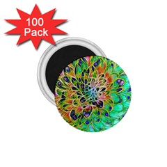 Abstract Peacock Chrysanthemum 1 75  Button Magnet (100 Pack)