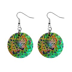 Abstract Peacock Chrysanthemum Mini Button Earrings