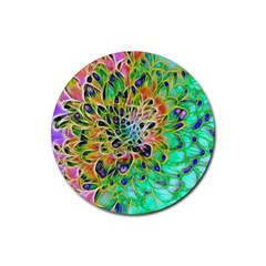 Abstract Peacock Chrysanthemum Drink Coasters 4 Pack (round)