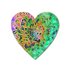 Abstract Peacock Chrysanthemum Magnet (heart)