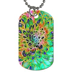 Abstract Peacock Chrysanthemum Dog Tag (one Sided)