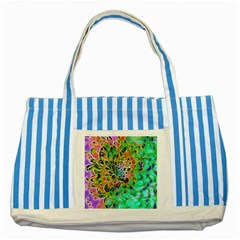 Abstract peacock Chrysanthemum Blue Striped Tote Bag