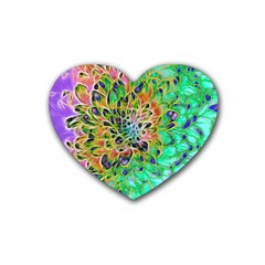Abstract Peacock Chrysanthemum Drink Coasters (heart)