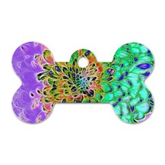 Abstract Peacock Chrysanthemum Dog Tag Bone (two Sided)