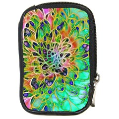 Abstract Peacock Chrysanthemum Compact Camera Leather Case