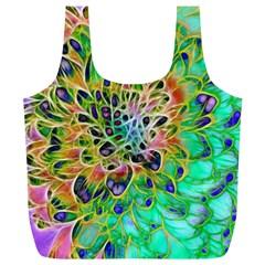 Abstract Peacock Chrysanthemum Reusable Bag (xl)