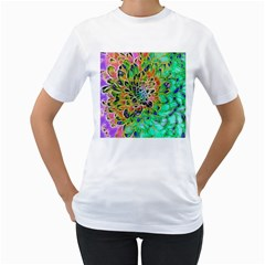 Abstract peacock Chrysanthemum Women s T-Shirt (White)
