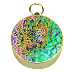 Abstract peacock Chrysanthemum Gold Compass