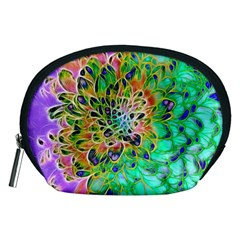 Abstract Peacock Chrysanthemum Accessory Pouch (medium)