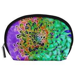 Abstract peacock Chrysanthemum Accessory Pouch (Large)
