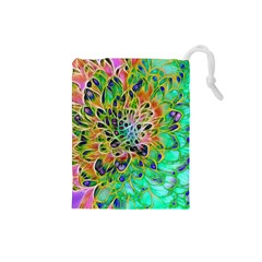 Abstract peacock Chrysanthemum Drawstring Pouch (Small)
