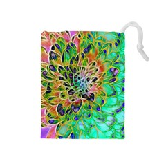 Abstract peacock Chrysanthemum Drawstring Pouch (Medium)
