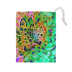 Abstract Peacock Chrysanthemum Drawstring Pouch (large)