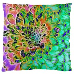 Abstract Peacock Chrysanthemum Large Flano Cushion Case (one Side)