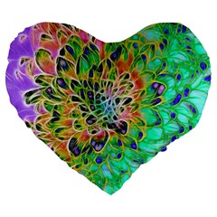Abstract peacock Chrysanthemum 19  Premium Flano Heart Shape Cushion