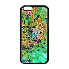 Abstract peacock Chrysanthemum Apple iPhone 6 Black Enamel Case