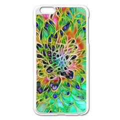 Abstract peacock Chrysanthemum Apple iPhone 6 Plus Enamel White Case