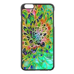 Abstract Peacock Chrysanthemum Apple Iphone 6 Plus Black Enamel Case
