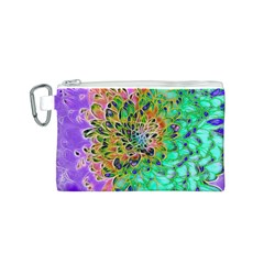Abstract peacock Chrysanthemum Canvas Cosmetic Bag (Small)