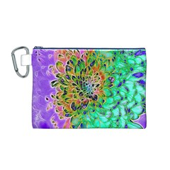Abstract peacock Chrysanthemum Canvas Cosmetic Bag (Medium)