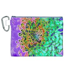 Abstract Peacock Chrysanthemum Canvas Cosmetic Bag (xl)