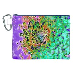 Abstract peacock Chrysanthemum Canvas Cosmetic Bag (XXL)
