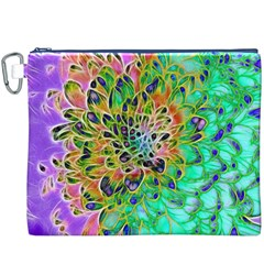 Abstract Peacock Chrysanthemum Canvas Cosmetic Bag (xxxl)