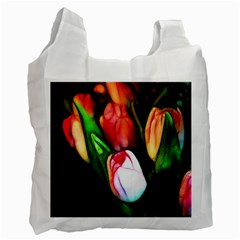 Abstract Pink Tulips White Reusable Bag (one Side)