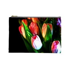 Abstract Pink Tulips Cosmetic Bag (large)