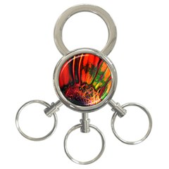 Abstract Of An Orange Gerbera Daisy 3 Ring Key Chain
