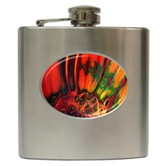 Abstract Of An Orange Gerbera Daisy Hip Flask