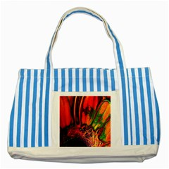Abstract Of An Orange Gerbera Daisy Blue Striped Tote Bag