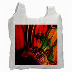 Abstract Of An Orange Gerbera Daisy White Reusable Bag (one Side)
