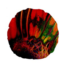 Abstract Of An Orange Gerbera Daisy 15  Premium Round Cushion