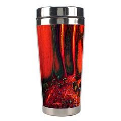 Abstract of an Orange Gerbera Daisy Stainless Steel Travel Tumbler