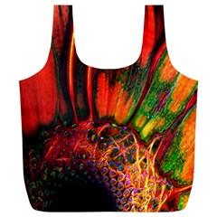 Abstract of an Orange Gerbera Daisy Reusable Bag (XL)
