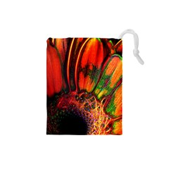 Abstract of an Orange Gerbera Daisy Drawstring Pouch (Small)