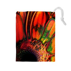 Abstract of an Orange Gerbera Daisy Drawstring Pouch (Large)