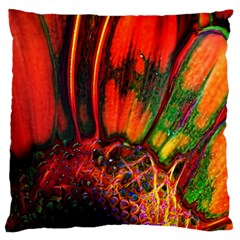 Abstract of an Orange Gerbera Daisy Large Flano Cushion Case (Two Sides)